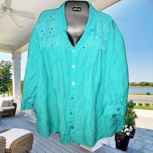 Terrific teal plus sized button down shirt 26w 28w